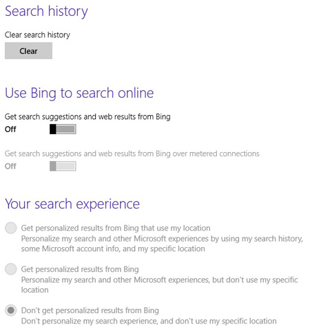 Opt-out from Bing search
